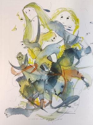 ...wie es mir gefällt 1 - vier/20_145 Aquarell/Fineliner auf Papier 32x24cm - Preis auf Anfrage
