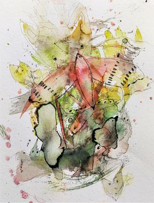 ...wie es mir gefällt 2 - sieben/21_07 Aquarell/Fineliner auf Papier 32x24cm - Preis auf Anfrage