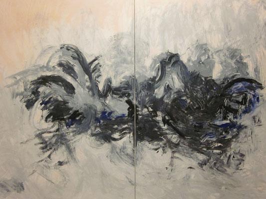 Ohne Titel Acryl auf Leinwand 100x140 cm 2teilig Preis auf Anfrage
