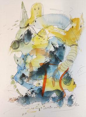 ...wie es mir gefällt 1 - drei/20_144 Aquarell/Fineliner auf Papier 32x24cm - Preis auf Anfrage