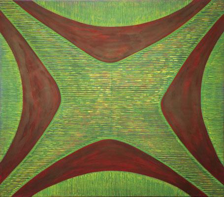 Querschnitt 04, 2018, Tusche auf Leinwand, 120x140 cm