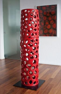 Kernstruktur, 2011, glasierte Keramik, 150x40 cm; Galerie Grashey, Konstanz
