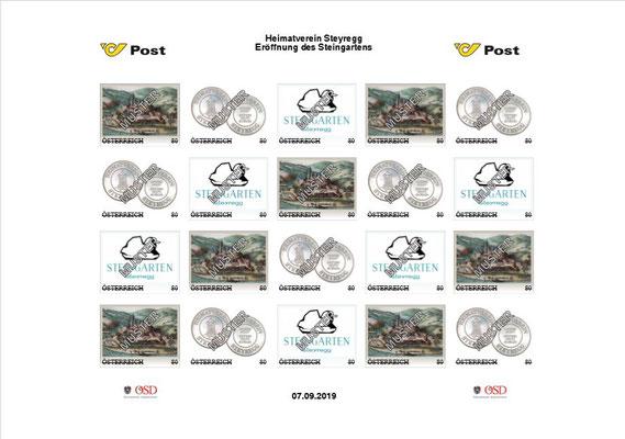 Briefmarkenbogen mit drei verschiedenen Motiven. Die Gesamtauflage beträgt fünf Bögen.