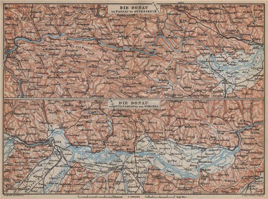 Die Donau von Ottensheim bis zum Strudel, 1:300000; Karl Baedeker, London: 10th Edition;1905