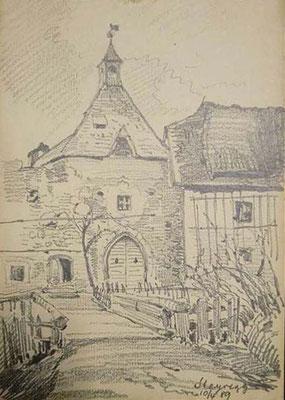 Bleistiftzeichnung auf Karton vom 10.04.1889 - Friedrich Zeller (1817-1896)