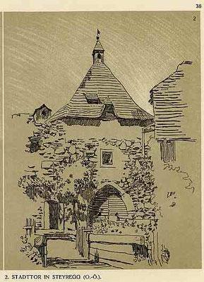 """Lithographie v. E. Thumb aus """"Reiseskizzen aus Nieder-Österreich Ober-Österreich und Tirol"""" Wien Schroll 1908"""