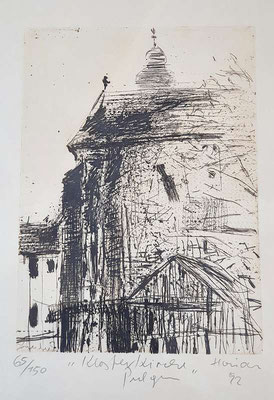 """Hermann Haider Radierung  """" Klosterkirche Pulgarn """", Blattgröße 26 x 35 cm, signiert, 1992"""