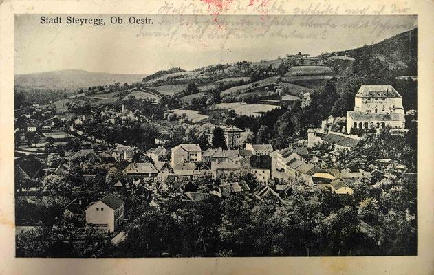 Stadt Steyregg, Karte gelaufen 1916