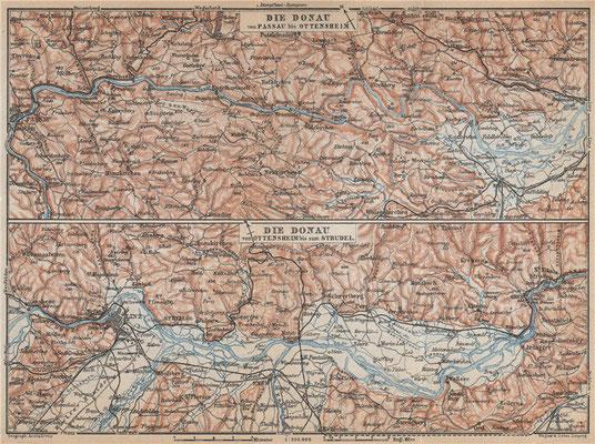 Die Donau von Ottensheim bis zum Strudel, 1:300000; Karl Baedeker, London: 12th Edition;1929