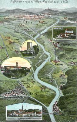 Vogelschaubild des Donauflusses in Richtung Linz