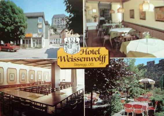 Hotel Weissenwolff - Mehrbildkarte; rückseitiger Text: 20 Fremdenzimmer, Seminar- und Festräume für 20-500 Personen, Bar, Holzkohlengrill im romantischen Gastgarten, täglich geöffnet
