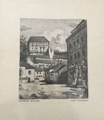 alte Radierung von Josef Felsinger, österreichischer Maler (Wien 1908 - 1972 Salzburg)