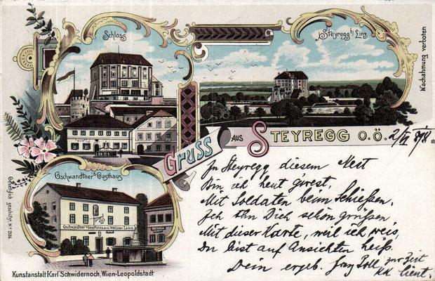 Karte - gelaufen 1898