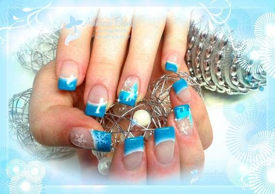 'Winter Wonderland' - Gel Modellage mit Airbrush Design