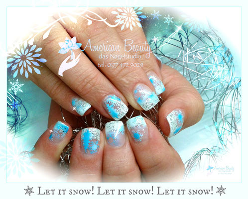 'Let it snow!' - Gel Modellage mit Airbrush Design