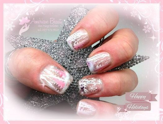 'Happy Holidays!' - Gel Modellage mit Airbrush Design