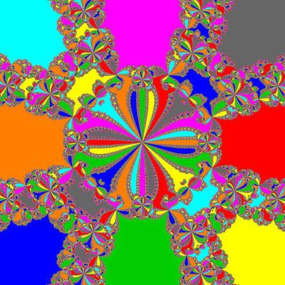 Basins of Attraction z^8+3z^4-4=0 Fang-Ni-Cheng-Verfahren