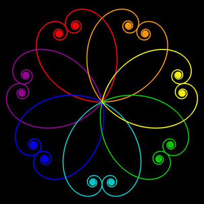 Ornament aus polynomialen Spiralen coloriert - Beispiel 01