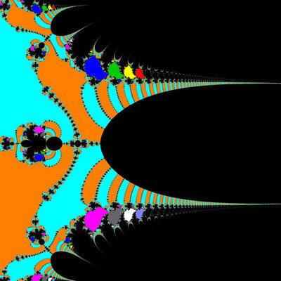 Basins of Attraction exp(z)-z=0 Schröder-Verfahren, Zoom