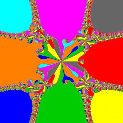 Basins of Attraction z^8+3z^4-4=0 Basto-Verfahren