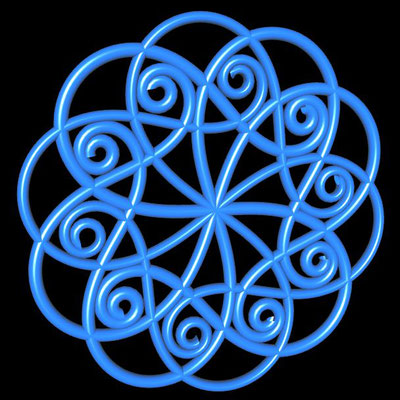 Ornament aus röhrenförmigen polynomialen Spiralen - Beispiel 1