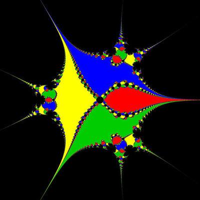Basins of Attraction z^4-1=0 Steffensen-Verfahren, B=[-10, 10]x[-10, 10], beta=0.01