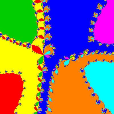 Basins of Attraction z^7–(3-i)z^5+6z^3–(3+i)z+3=0 Newton-Verfahren