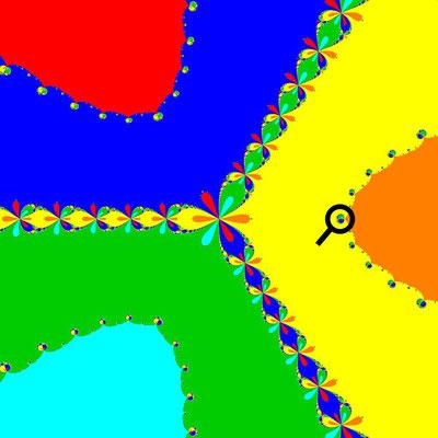 Basins of Attraction z^6-10z^3+8=0, Newton-Verfahren, B=[-3, 3]x[-3, 3]