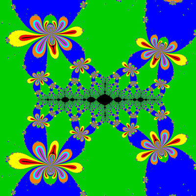 Basins of Attraction (z+4)(z+3)(z+2)(z+1)(z-1)(z-2)(z-3)(z-4)=0 King-Verfahren, beta=-2.25, Zoom 1.56•10^5
