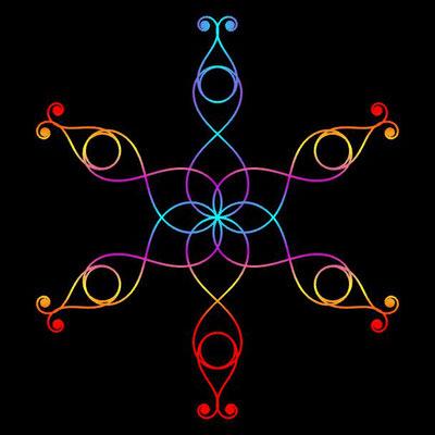 Ornament aus polynomialen Spiralen coloriert - Beispiel 07