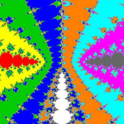 Basins of Attraction (z+4)(z+3)(z+2)(z+1)(z-1)(z-2)(z-3)(z-4)(z-2i)=0 Newton-Verfahren, a=1.98