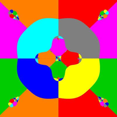Basins of Attraction z^8+3z^4-4=0 Laguerre-Verfahren, B=[-5, 5]x[-5, 5]