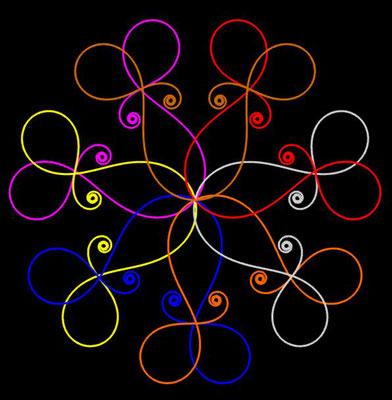Ornament aus polynomialen Spiralen coloriert - Beispiel 12