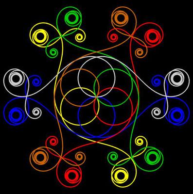 Ornament aus polynomialen Spiralen coloriert - Beispiel 03