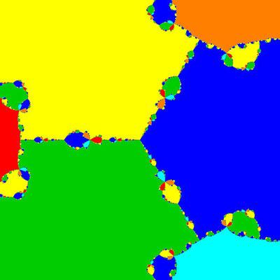 Basins of Attraction z^6+10z^3-8=0, Halley-Verfahren, B=[-2, 2]x[-2, 2]