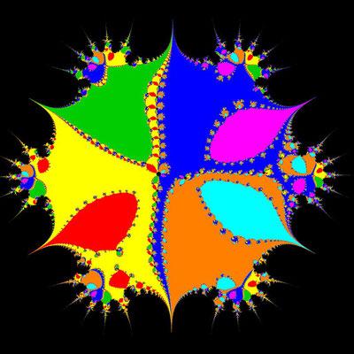 Basins of Attraction z^7–(3-i)z^5+6z^3–(3+i)z+3=0 Steffensen-Verfahren, beta=-0.0001