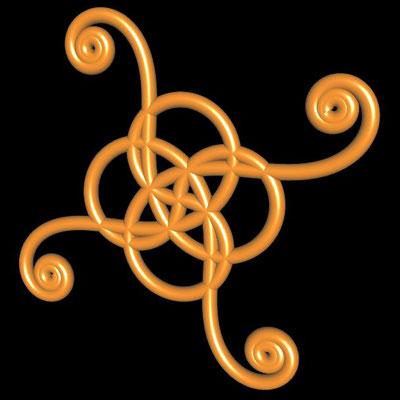 Ornament aus röhrenförmigen polynomialen Spiralen - Beispiel 2