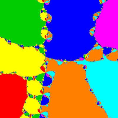 Basins of Attraction z^7–(3-i)z^5+6z^3–(3+i)z+3=0 Halley-Verfahren