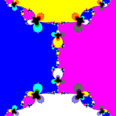 Basins of Attraction sin(z^2-1)=0 Halley-Verfahren, B=[-1.2, 1.2]x[-1.2, 1.2]