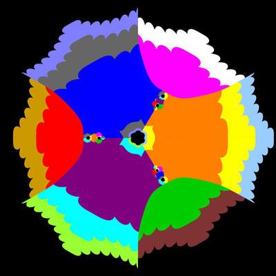 Basins of Attraction sin(z^3-1)=0 Laguerre-Verfahren