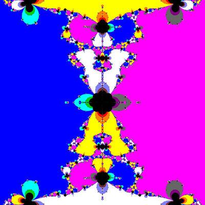 Basins of Attraction sin(z^2-1)=0 Ostrowski-Verfahren, B=[-1, 1]x[-1, 1]