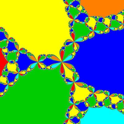Basins of Attraction z^6+10z^3-8=0, Newton-Verfahren, B=[-2, 2]x[-2, 2]