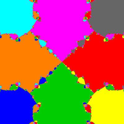Basins of Attraction z^8+3z^4-4=0 Halley-Verfahren