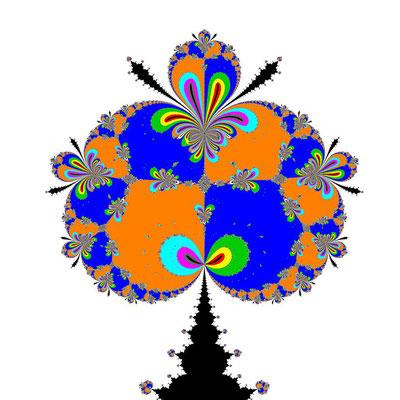 Basins of Attraction (z+4)(z+3)(z+2)(z+1)(z-1)(z-2)(z-3)(z-4)(z-2i)=0 King-Verfahren, beta=-2.1, Zoom