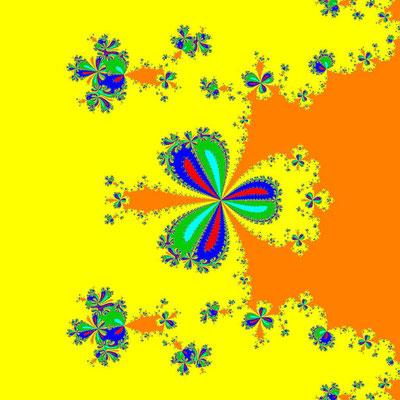 Basins of Attraction z^6-10z^3+8=0, Whittaker II-Verfahren