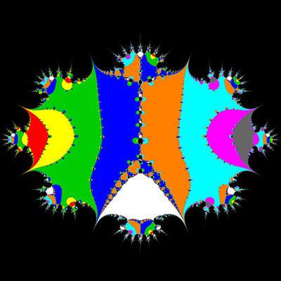 Basins of Attraction (z+4)(z+3)(z+2)(z+1)(z-1)(z-2)(z-3)(z-4)(z-2i)=0 Steffensen-Verfahren, beta=-0.00001, B=[-6, 6]x[-6, 6]