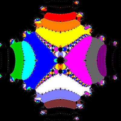 Basins of Attraction sin(z^2-1)=0 Steffensen-Verfahren, beta=0.001, B=[-4, 4]x[-4, 4]