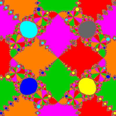 Basins of Attraction z^8+3z^4-4=0 Schröder-Verfahren