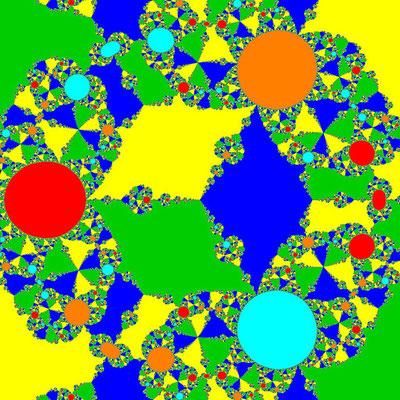 Basins of Attraction z^6+10z^3-8=0, Schröder-Verfahren, B=[-3, 3]x[-3, 3]