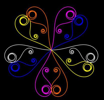 Ornament aus polynomialen Spiralen coloriert - Beispiel 06